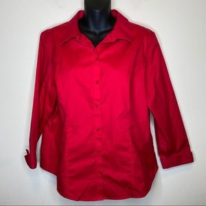 Chico's Ruby Red 100% Cotton Button Down Shirt